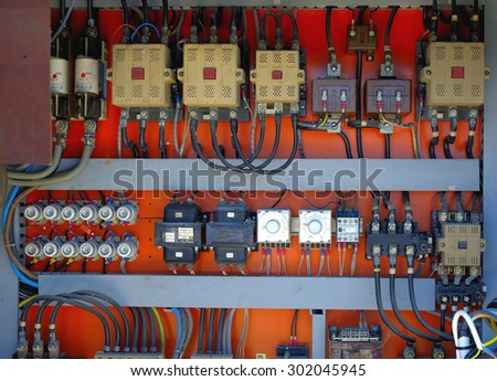 Control panel with cables wired in the air - cords old. - stock photo