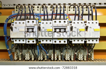 Control panel with circuit-breakers (fuse) - stock photo