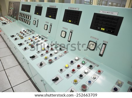Control panels in the control room of a water treatment plant