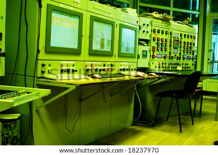 control room at a power plant - stock photo