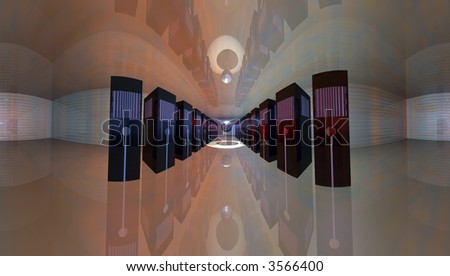 Control room filled with web servers map courtesy nasa - stock photo