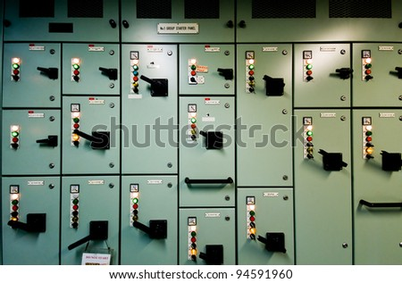Control room of a extra large cargo ship - stock photo