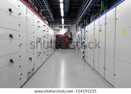 Control room of a thermal power plant - stock photo