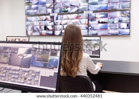 Control room operator - stock photo
