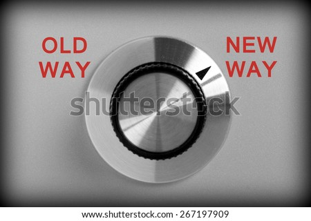 Control switch in black and white with options for Old Way or New Way with the switch pointing at New - stock photo