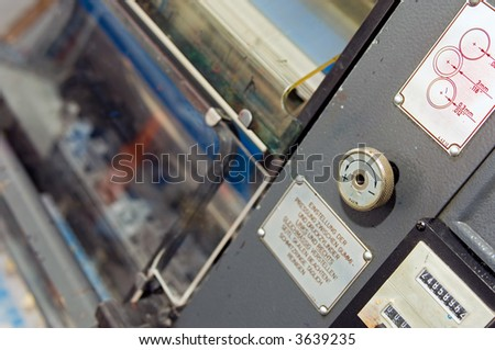 Control Switches on an Offset Printing Press - stock photo