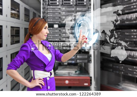 Control the digital world map in server room - stock photo