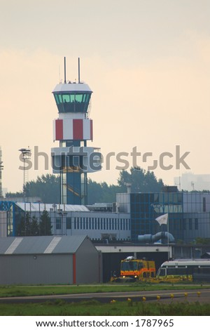 Control Tower and Emergency Services at Rotterdam Airport in The Netherlands - stock photo