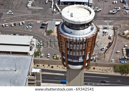 Control Tower at Phoenix Sky Harbor Airport - stock photo