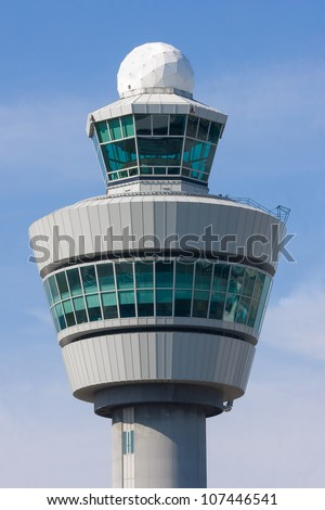 Control tower at Schiphol airport, the Netherlands - stock photo