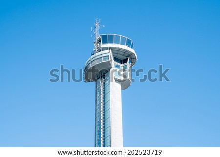 control tower in Schiphol Airport  - stock photo