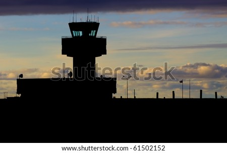 Control tower in the evening - stock photo