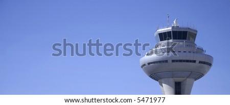 control tower panorama, madrid, spain - stock photo