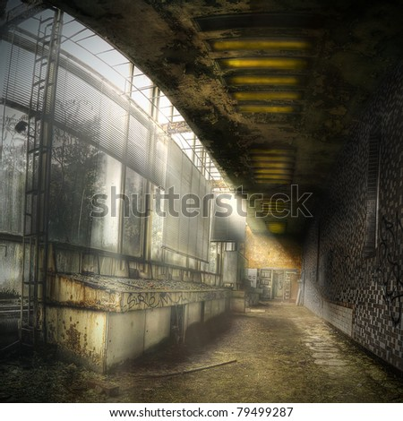 control unit of an abandoned industrial complex, hdr processing - stock photo