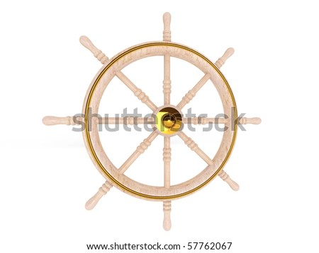 Control wheel isolated on white background. High quality 3d render.