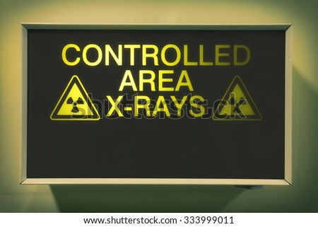 controlled area x-rays lightbox in hospital - stock photo