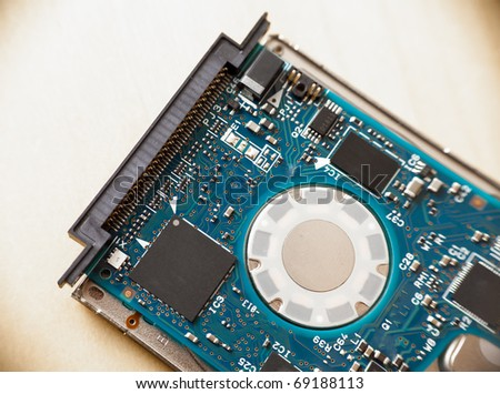 Controller board of a 1.8 inch hard drive which is usually used in mp3 players - stock photo
