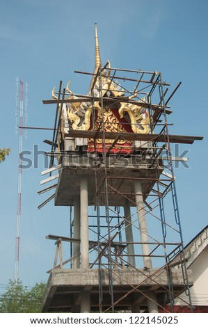 contruction of bell tower in Huakuan Temple Yala, Thailand