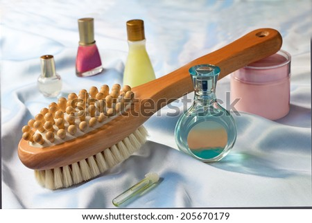 Convenient wooden brush for body and means massage for care of a body - stock photo