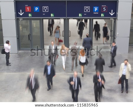 Convention Center Entrance with motion blur. - stock photo