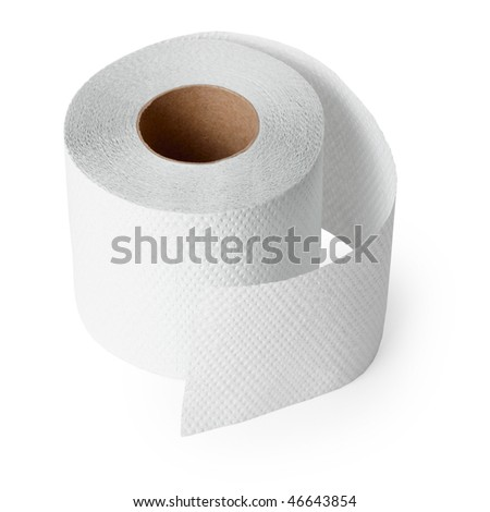 Conventional toilet paper roll on a white background