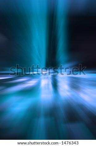 convergence of blue light - stock photo