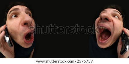 Conversation by the phone - stock photo