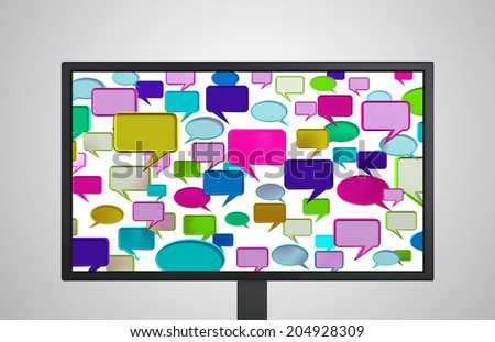 conversation icon is on the monitor display representing the social network concept  - stock photo