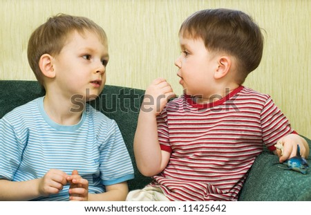 Conversation of two friends - stock photo