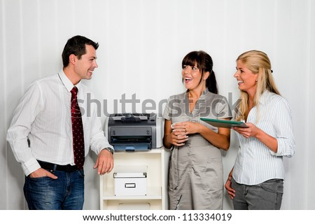 conversation with several employees in one office - stock photo