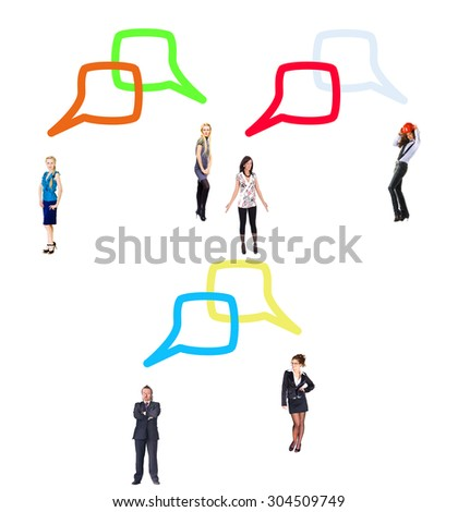 Conversations in a Company Standing and Talking  - stock photo