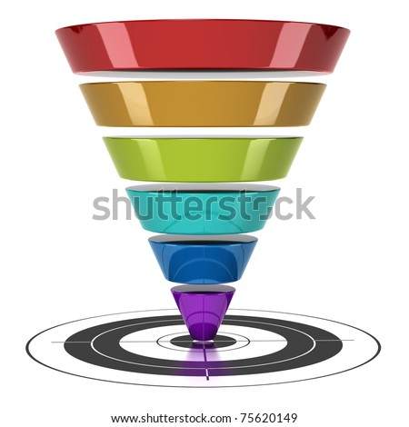 conversion funnel over a white background with a target - stock photo