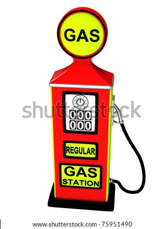 Converted gas station isolated on a white background. - stock photo