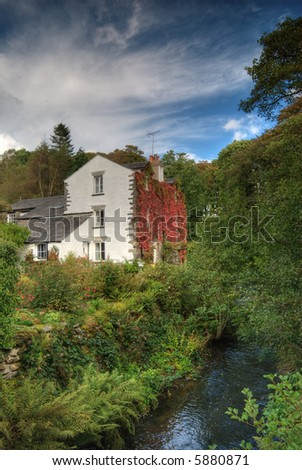 Converted mill at Torver, near Coniston in the English Lake District - stock photo