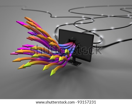 converted signal monitor - stock photo