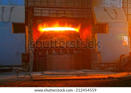 converter in the steel mills, closeup of photo - stock photo
