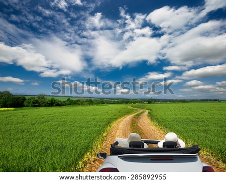 convertible car on a background field - stock photo