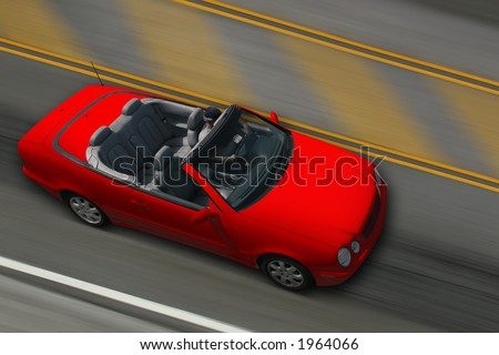 Convertible Car - Red. All Logos and names deleted. Clipping Path. - stock photo