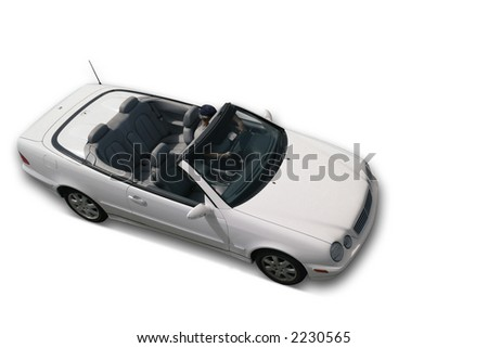 Convertible Car - White. All Logos and names deleted. Clipping Path. - stock photo