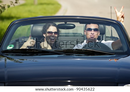 convertible driving - stock photo