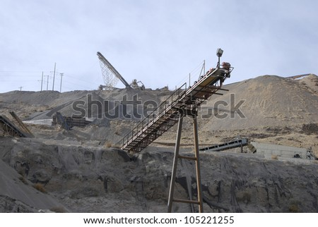 Conveyor belt for crushed stone at a roadstone quarry, Nevada, USA - stock photo