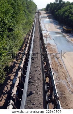 Conveyor Belt - Opencast Mining - stock photo