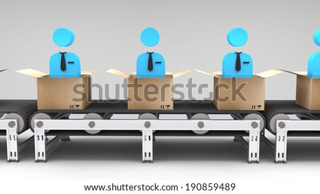 conveyor belt with new employees for use in presentations, manuals, design, etc. - stock photo
