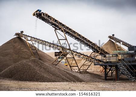 Conveyor belts in mine - stock photo