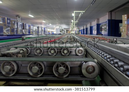 conveyor line assembly - stock photo