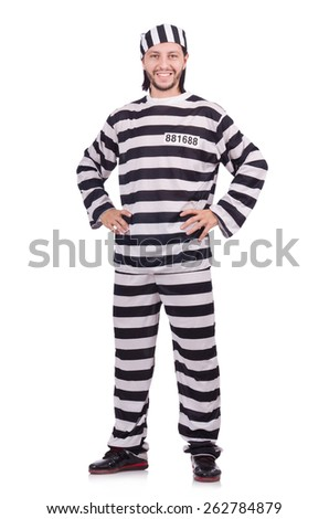 Convict criminal in striped uniform isolated on white - stock photo