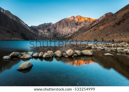 Convict Lake and Laurel Mountain with Alpine Glow during Sunrise