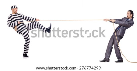 Convicted man and young businessman isolated on white - stock photo