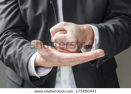 convinced business man hands talking - stock photo