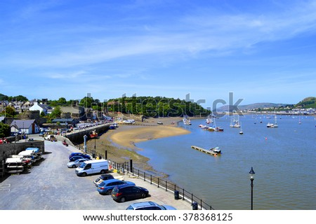 Conwy, Wales, United Kingdom - June 22, 2014 : Sceanic Conwy harbour in North Wales